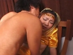 Little priceless Asian princess drilled by her prince
