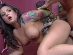 Charity Bangs is a hawt student girl with tattoos and big boobs. She is untinkably hawt in her mini skirt. Breasty girl gets her sweet pussy licked and fucked by Dean Johnny Sins in his office