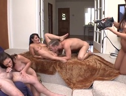 Brunette Katie Angel with round booty and Charley Chase show their love for lesbian sex
