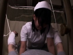 Delightful nurse gets on top of a hung patient and fucks hi