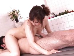 Nippon milf oiled up and fucked
