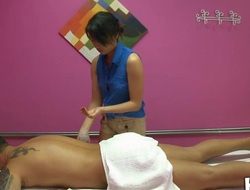 Gentle cook jerking and oral-service performed during massage
