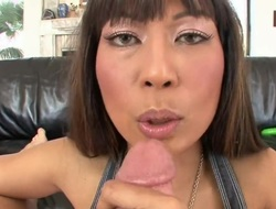 Dark brown oriental milks cum loaded boner of her man