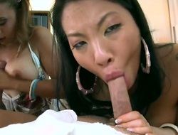 Asian Asa Akira with bubbly bottom receives face hole stuffed by mans erect rod