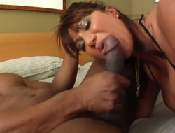 Oriental Ava Devine gets cummed on after blowing Jonni Darkkos rock solid meat pole