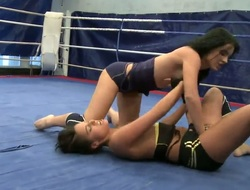 Hawt boxing babes get into an erotic in nature's garb fight as they struggle to achieve fun