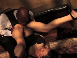 Mature brunette Ange Venus makes sexually excited black male to deep pound her shaved and wet twat