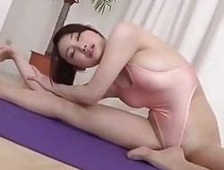 Yoga teacher fucked in swimsuit pantyhose