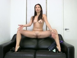 Long haired, slim Asian chick Lily naked, teasing her body and stimusexy her tight slit with a huge fake penis before sucking on a pulsating, hot cock.