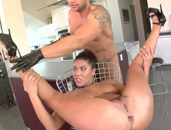 Bitch from Asia London Keyes has wild anal pounding with perverted large cock pal Nacho Vidal. She sits on chair while his knob is entering her butt before giving deep throat.