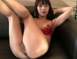 Arousing innocent looking petite asian brunette hair babe Marica Hase with natural firm zeppelins and constricted sexy body in red bikini teases David Perry and stuffs her constricted cunny with toy.