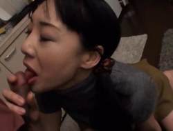 Japanese wife with big tits sucking jock in her kitchen