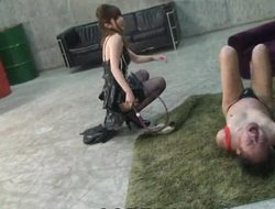 Japanese femdom tied slaves, hit with a whip