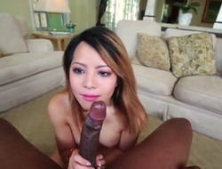 Asian gets nailed interracially in her honeypot by horny dude