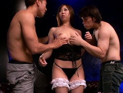 Japanese model facialized after threeway