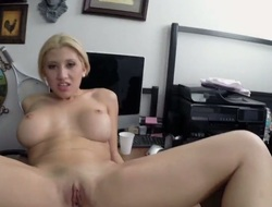 Golden-haired exotic Cristi Ann has a good time jerking guy off