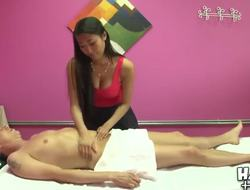Scott came in for a massage and encountered the beautiful and busty, Sharron Lee. Sweetheart presents him professional massage, touching every part of his naked built body.