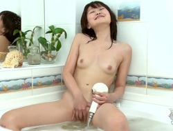 Aliona is a horny Asian cutie who loves to masurbate while taking a bath in her bathroom