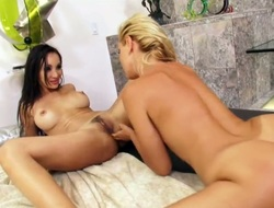 Demure Katsuni is worshiping Sandys hawt feet before moving down to take up with the tongue her hawt trimmed pussy