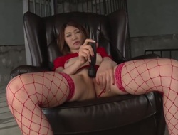 Japanese adult model Airi Mizusawa in red lingerie stimulates her asian unshaved pussy with black Hitachi vibrator without taking off her thong. See Airi Mizusawa masturbate with legs wide open.