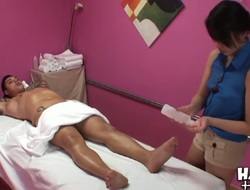Tattooed Angelo Ferro gets aroused while tight ass oriental babe Miko in hawt outfit is giving him massage. She gets naked and gives him memorable handjob while hidden camera films everything.