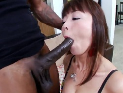 Ebon thug with enormous huge penis is having wild pounding with petite Oriental chick Marica Hase. The glamorous sweetheart from Asia is plan to be screwed like never before by him!