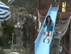Amatuer Asian at Waterslide Flashing her Tits!