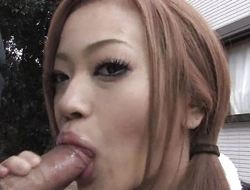 Cute Asian hotty gives her schoolmate a BJ and swallows