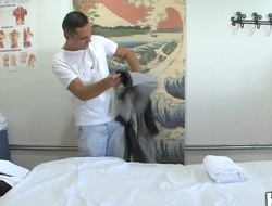 Agile playgirl performs relaxing, yet nasty massage for a stud