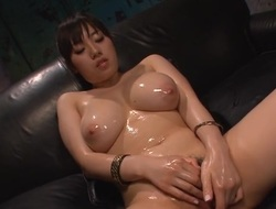 Oriental chick with lovely mambos toys and plays with her shaggy twat