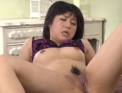 Oriental sweetheart mounts large 10-Pounder and fucks until this babe squirts