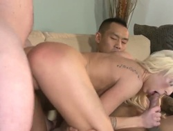 Tattooed asian stud Keni Styles and his friend Kyle Stone with lengthy strong shaft fuck balls deep young pretty golden-haired hooker Maia Davis all over the living room in awesome threesome.