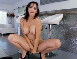 Busty and arousing oriental brunette hair hottie with a large butt in her underware Katsuni enjoys in posing in front of the camera during her hot solo session and teases with pleasure
