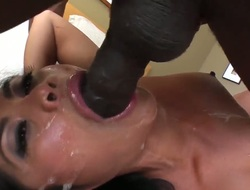 Lusty skilful cock addicted asian Arcadia Dayida with dark heavy make up and natural tits gives mind blowing deep face hole to dark bull Prince Yahshua with monster cock in close up.