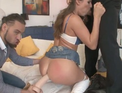Beautiful chick with a hawt slim body and nice boobies Betty Saint is having an amazing time with Mike Angelo and his friend Vadim Murmtsev, who is filming their sex.