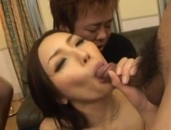 Nozomi Mashiro sucks tools and gets cum in mouth after