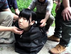 Tiny japanese babe facialized in group