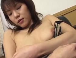 Wicked Isshiki receives out her fishnets and bonks herself on a couch