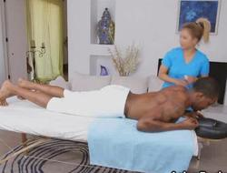 Big black 10-Pounder in 2 Asian masseuses