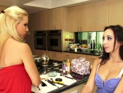Golden-haired exotic and Katsuni open their legs legs wide for every other and have lesbo fun
