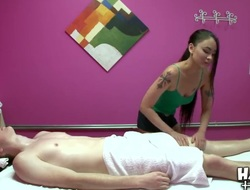 Asian slut Jade Hsu gives greater amount than massage to sexually excited male Jake Taylor