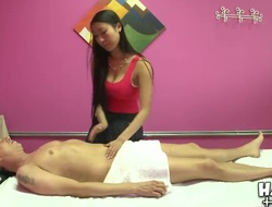 Sexy Asian masseur Sharon Lee gives a good massage to hot Scott behind the closed door!