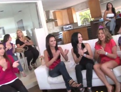 Angels are going wild at a bachelorette party. A stripper is making his show and he ends up having group sex with two of the women while the rest cheer on.