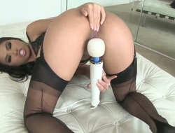 Turned on gorgeous asian Cindy Starfall with smokin' hot ass and arousing heavy make up in stockings has loud wet orgasms while masturbating with massive Hitachi vibrator in close up.