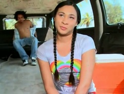 Brunette Kimora jerks guys beefy tool with her skillful hands the way this chab loves it