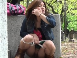 Panties asian pee street
