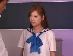 Oriental schoolgirl snatch takes large vibrator and fucked hardcore