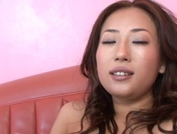 Hawt Asian mama strips and her constricted muff finger fucked