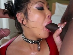 Hot oriental babe mya sucks a huge cock and later swallows it whole in a deepthroat.