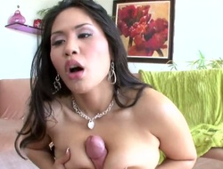 Asian dark brown het and worthy pussy take up with the tongue from her stud before she gives him a deepthroat blowjob